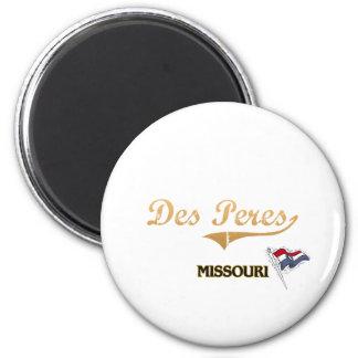 Obra clásica de la ciudad del DES Peres Missouri Imán Redondo 5 Cm