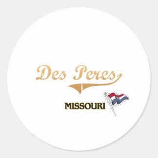 Obra clásica de la ciudad del DES Peres Missouri Pegatina Redonda