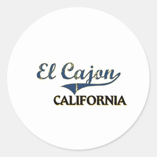 Obra clásica de la ciudad del EL Cajon California Pegatina Redonda