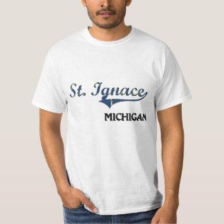 Obra clásica de la ciudad del St. Ignace Michigan Playera