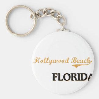 Obra clásica de la Florida de la playa de Hollywoo Llavero Redondo Tipo Pin