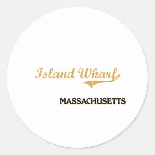 Obra clásica de Massachusetts del muelle de la Etiquetas Redondas