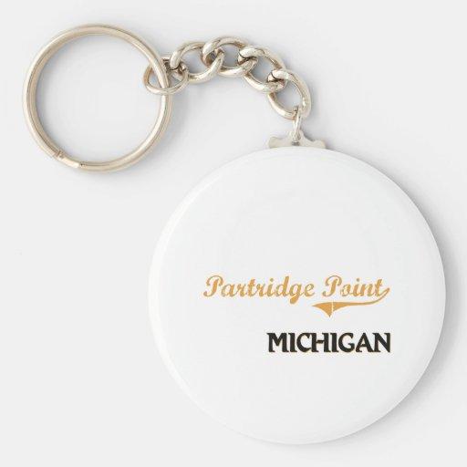 Obra clásica de Michigan del punto de la perdiz Llavero Redondo Tipo Pin