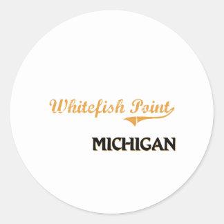 Obra clásica de Michigan del punto del pescado Etiqueta Redonda