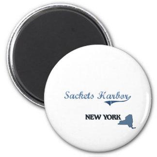 Obra clásica de New York City del puerto de Sacket Imán Redondo 5 Cm