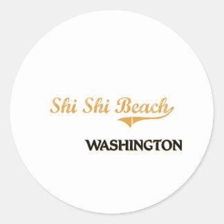 Obra clásica de Washington de la playa de Shi Shi Etiquetas Redondas