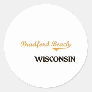 Obra clásica de Wisconsin de la playa de Bradford Pegatina Redonda