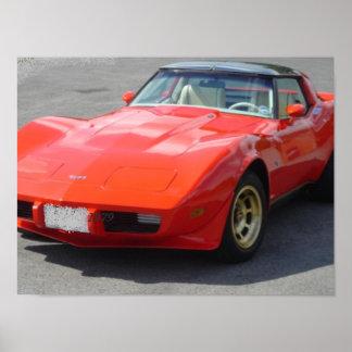 Obra clásica del Corvette de 1979 rojos Póster