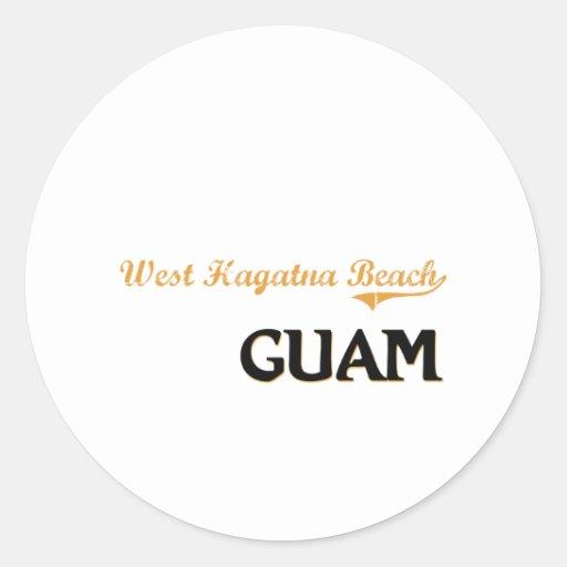 Obra clásica del oeste de Guam de la playa de Pegatina Redonda