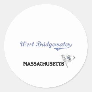 Obra clásica del oeste de la ciudad de Bridgewater Etiqueta Redonda