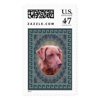 Obra clásica del perro perdiguero de bahía de sellos postales