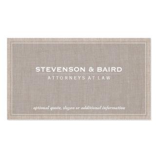 Obra clásica elegante de la textura de lino de la tarjetas de visita