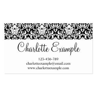 Obra clásica floral blanca negra del damasco tarjetas de visita