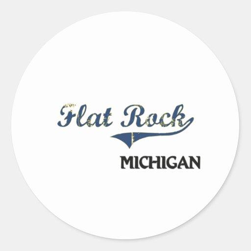 Obra clásica plana de la ciudad de Michigan de la Pegatina Redonda