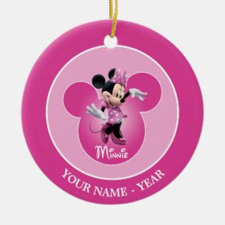 Obra clásica rosada de Minnie Mouse Adorno Navideño Redondo De Cerámica