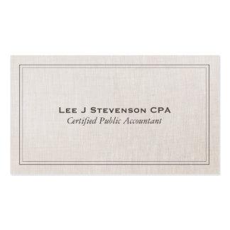 Obra clásica simple profesional de CPA del contabl Plantilla De Tarjeta Personal