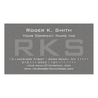 Obra clásica texturizada gris elegante del monogra plantillas de tarjetas de visita