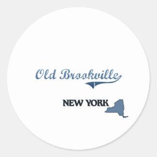 Obra clásica vieja de Brookville New York City Pegatinas Redondas