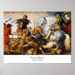 Obra maestra de Peter Paul Rubens de la caza del l Poster