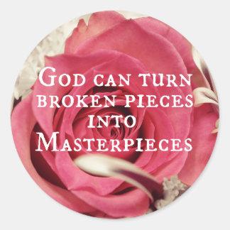 Obra maestra inspirada de la cita de dios pegatina redonda