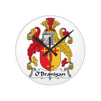 O'Branigan Family Crest Round Wallclock