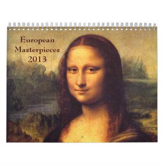 Obras maestras europeas calendarios