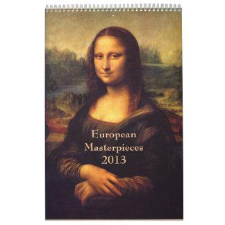 Obras maestras europeas calendario de pared