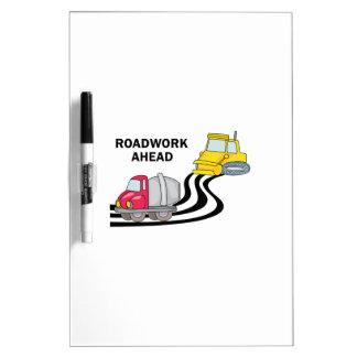 Obras por carretera a continuación pizarras