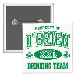 O'Brien Irish Drinking Team 2 Inch Square Button
