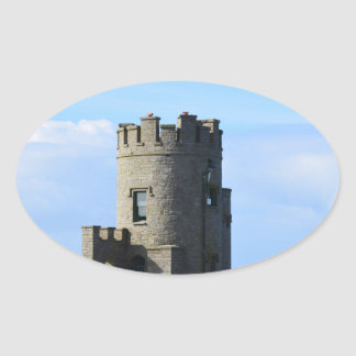 O'Brien's Tower on the Cliffs of Moher Oval Sticker