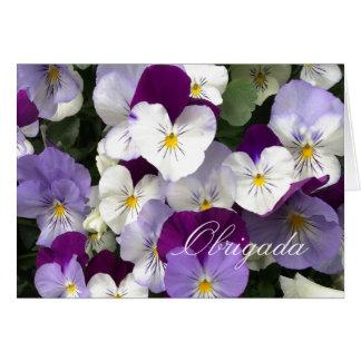 Obrigada portugués - gracias florece - tarjeta pequeña
