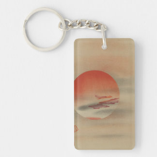 Obscured Bright Red Sun Keychain