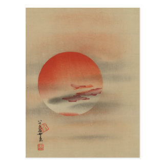 Obscured Bright Red Sun Postcard