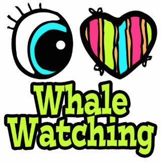 Observación brillante de la ballena del amor del c llavero fotográfico