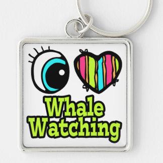 Observación brillante de la ballena del amor del c llavero cuadrado plateado
