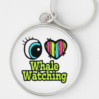 Observación brillante de la ballena del amor del llavero redondo plateado