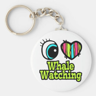 Observación brillante de la ballena del amor del llavero redondo tipo pin