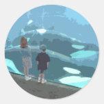 Observación de la ballena etiquetas redondas