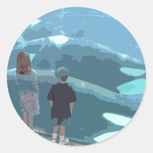 Observación de la ballena pegatina redonda