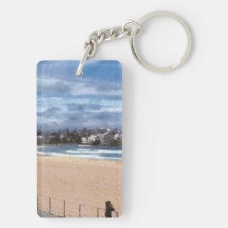 Observación de la playa llavero rectangular acrílico a doble cara