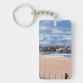 Observación de la playa llavero rectangular acrílico a una cara