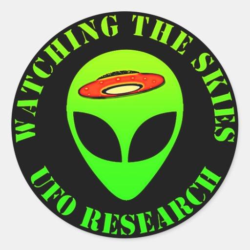 Observación de los cielos, investigación del UFO Pegatina Redonda