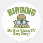 Observación de pájaros, Birding Etiquetas Redondas
