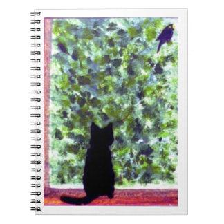¡Observación de pájaros del gato negro del arte Libro De Apuntes
