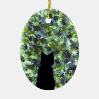 ¡Observación de pájaros del gato negro del arte Adorno Ovalado De Cerámica