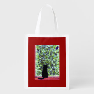 Observación de pájaros del gato negro del arte del bolsa de la compra