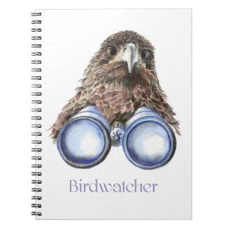 Observación de pájaros del halcón de Birdwatcher u Cuadernos