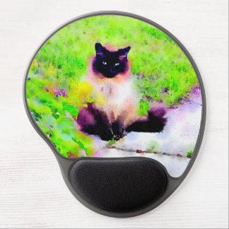 Observación del gato alfombrilla con gel