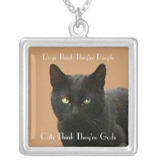 Observación del gato negro pendiente personalizado