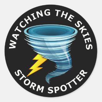 Observación del observador de tiro de la tormenta etiqueta redonda